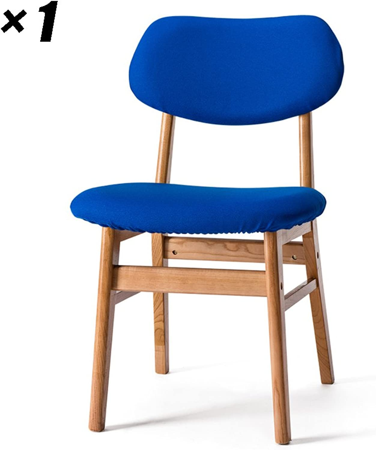 Fabric Dining Chairs Solid Wood Kitchen seat Simple Lounge Chairs 50×47×77.5cm (color   Wood color, Size   Set of 1)