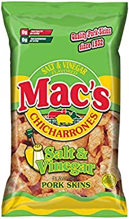 Mac's Salt and Vinegar Pork Skins - Low Carb, Keto Friendly Snack - Crunchy Chicharrones / Pork Rinds (3 oz bags, 12ct)