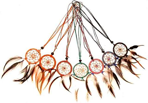 Dreamcatcher als Halsband, 10 er Set, Indianer-Halsschmuck, Traumfänger