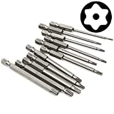 Yakamoz 11 Pcs Magnetic T6-T40 Torx Head Screw Driver Bit Set Security Tamper Proof Star 6 Point Screwdriver Drill Bits Tools with 1/4 Inch Hex Shank | 3 Inch Length