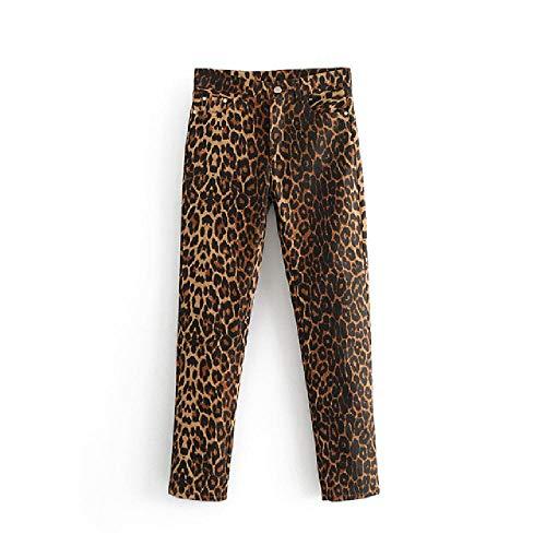 Pantalones Vaqueros para Mujer con Estampado de Leopardo, pantalón de lápiz con patrón de Animales, Cremallera, Mosca, Vintage, Informal, hasta el Tobillo, Pantalones de Mezclilla