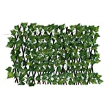 Expanding Fence Retractable Fence Screen with Plant, Expandable Fence Privacy Screen for Balcony Patio Outdoor, Faux Ivy Fencing Panel for Backdrop Garden Backyard Home Decorations (A)