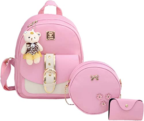 3 pieces fashion Pu Leather Women Backpack Korean Style Backpack Teddy Bear Keychain Women Girls College Backpack Bag Gift for Her
