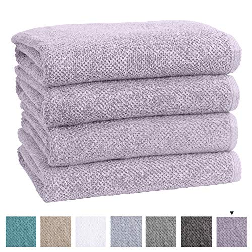 Great Bay Home 100% Cotton QuickDry Bath Towel Set 30 x 52 inches Highly Absorbent Textured Popcorn Weave Bath Towels Acacia Collection Set of 4 Lilac