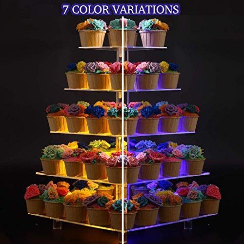 BonNoces 5 Tier Square Cupcake Stand with LED Light, 7 Color Variations - Acrylic Dessert Cake Stand - Tiered Pastry Tower with Base for Wedding, Birthday Party