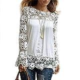 MORCHAN Chemise à Manches Longues pour Femmes Fashion Casual Blouse en Dentelle Tops en Coton lâche T-Shirt(FR-34/CN-S,Blanc)