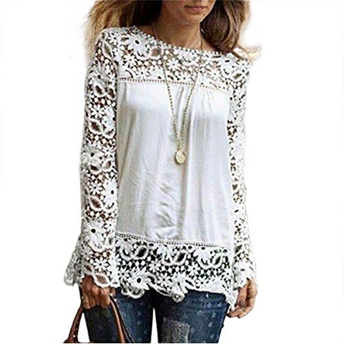 MORCHAN Chemise à Manches Longues pour Femmes Fashion Casual Blouse en Dentelle Tops en Coton lâche T-Shirt(FR-46/CN-XXXXL,Blanc)