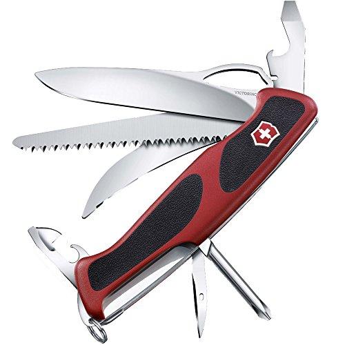 Victorinox Taschenmesser Ranger Grip 58 Hunter (13 Funktionen, Einhand-Feststellklinge) rot/schwarz
