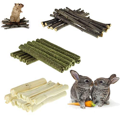 SKXZK Juguetes para Masticar Conejo, Natural Timothy Palitos, Manzana Palitos, Bambú Dulce, Juguetes Bocadillos de Animales Pequeños para hámster, Conejillos de Indias, Chinchillas (200g)