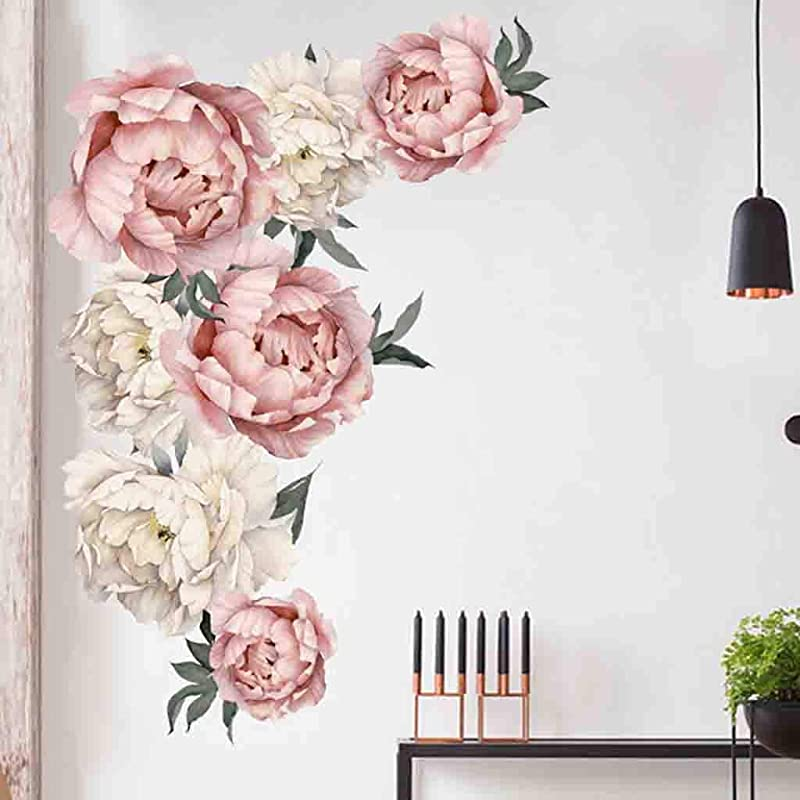 Quaanti Pink Peony Flowers Wall Decal Removable Floral Vinyl Wall Sticker Blooming Roses Wall Decor Colorful Girls Love Decal Nursery Wall Art Wedding Praty Bedroom Living Room Decoration Multicolor