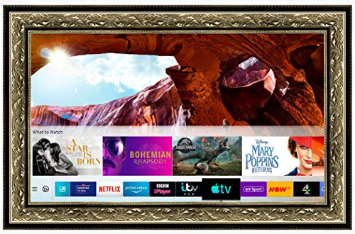Framed Mirror TV with Samsung Q60 4K Ultra HD HDR Smart LED TV (43 inch, Antique Silver Gold Ornate)