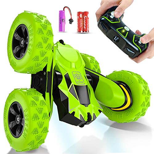 Joyjam RC Stunt Car Toys for 6-12 Year Old Boys 4WD Off Road Truck 2.4Ghz Rechargeable Remote Control Car Double Sided 360 Degree Rotating Green Birthday Toy Easter Gifts for Kids