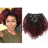 Ombre Remy Clip in Human Hair Extensions Afro Kinky Curly For Black Women 4A 4B 100% Human Hair Clip ins Two Tone #1B/99J Burgundy Wine Red Full Head (10 inch,T#1B/99J AC)
