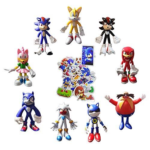 XINSHENG Sonic toys 9 unids/set Sonic Figure Juguetes Set Sonic Boom Amy Rose Sticks Colas Werehog PVC figuras de acción nudillos Anime Pop Figurines Muñecas Juguete para niños