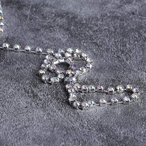 SALALIS Cadena de Diamantes de imitación, 1 Rollo de Cadena de Cristal para Collar de Bricolaje, Accesorios de decoración de Boda(ss16 Silver)