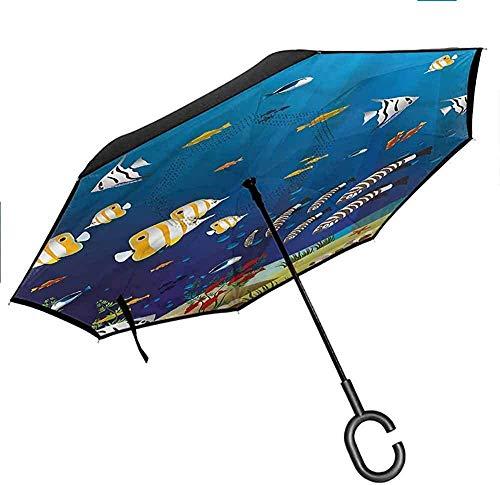 Dekor Aquarium Reverse Inverted Inside Out Regenschirm Fisch Korallen und Stein Arch Double Layer Canopy Anti-UV-Windschutzschirm -K1620