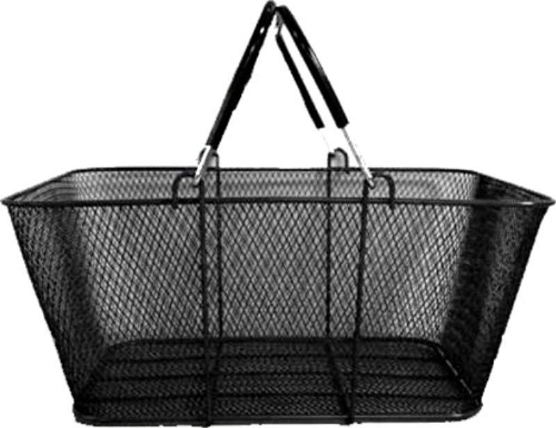 Wire Mesh Stacking Shopping Basket With Vinyl Handles Black Set Of 12