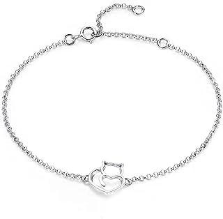 Belons Pulsera de plata de ley 925 con circonita cúbica para mujer, diseño de gato y gatito
