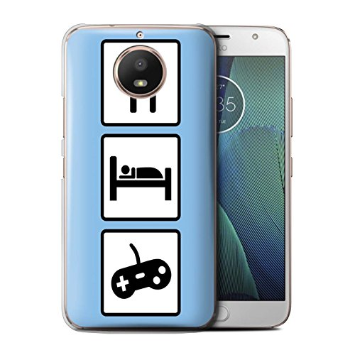 Stuff4®®®®®®®®®®®®®®®®®®®®®®®®®®®® Phone Case/Cover/Skin/Moto-CC/Eat/Sleep Collection Motorola Moto E4 2017 spel/gaming/blauw.