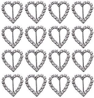 JETEHO Pack of 50 Sweet Heart-Shaped Silver Tone Diamante Crystal Rhinestone Buckle Chair Sash Ribbon Slider for Wedding Invitation Letter,20x21mm