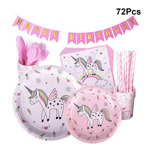 LUOEM Unicorn Happy Birthday Party Supplies Kit Pink Unicorn Birthday Theme Party Decorations for Baby Girls/Best Gifts with Banner,Plates,Napkins,Cups,Cutlery,Straws - 72 Pack