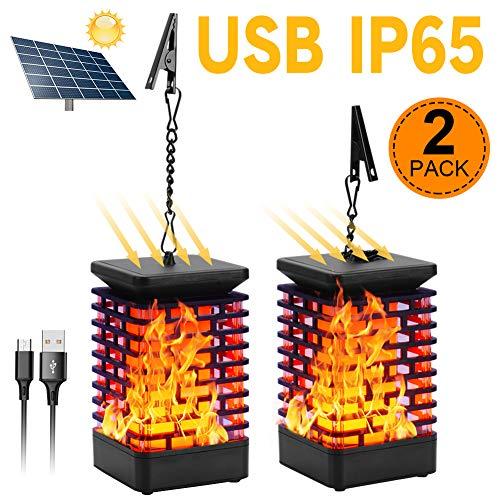 Solar Laterne Flammenlicht Garten Hängelaterne Outdoor Solarleuchte Flammen Gartenlaternen IP65 Solar Licht Gartenleuchten Solarlaterne Flammenlampe Auto EIN/Aus (Licht Sensor) USB Wiederaufladbar