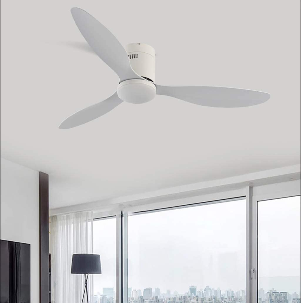 JXILY 52In Ceiling Fan With Bedroom Decoration Lighting Outdoor Hugger Fan with LED Light And Remote Control Industrial Light Ventilation Light 3 Blades Dimming Ceiling Fan