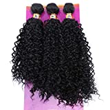 Synthetic Hair Weave Kinky Curly Hair Bundles 16 18 20 Inches Mixed Black High Temperature Heat Resistant Fiber