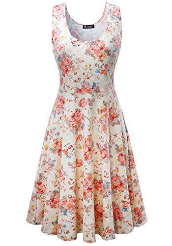 Damen Vintage Sommerkleid Traeger mit Flatterndem Rock Blumenmuster, Beige, Gr. Medium / EU 36-38