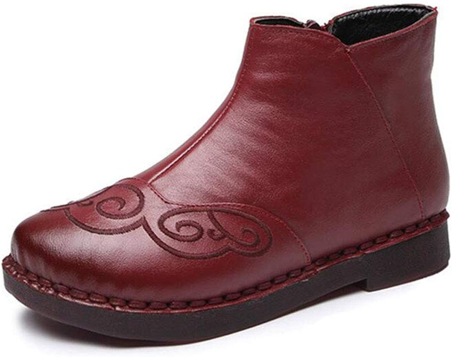 Women Boots, Fall Winter Vintage Style Genuine Leather Women Boots Flat Booties Leather Women's shoes Ankle Boots (color   Red, Size   37)