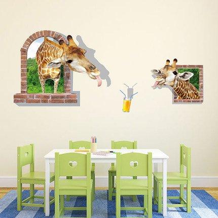 AungAoo 3D Stereo Stickers Woonkamer Wanddecoratie Trap Muurstickers Slaapkamer Warm Pot Vaas Simulatie, Grappige Giraffe 3D,Super