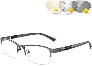 Mens Leesbril, Transition Photochromic Leesbril, Half Frame Lezen Optics Ready Lezers Spectacles HD Hars Lens UV400 Outdoo...