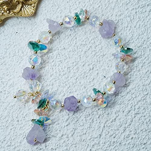 QiuYueShangMao Pulseras de Hilo con Cuentas de Mineral en Bruto de Cristal púrpura Natural Irregular étnico para Mujeres niñas Accesorios de joyería de Moda joyería de la Amistad