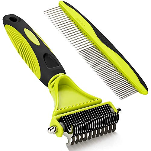 Fljen-CC Grooming Dematting Comb Tool Kit - Double Sided Blade Rake Comb Grooming Comb - Removes Loose Undercoat, Knots, Mats and Tangled Hair
