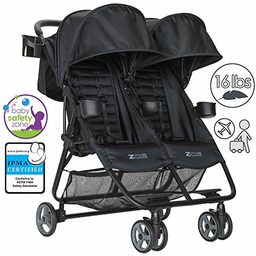 Zoe XL2 Double Lightweight Twin Travel Umbrella Stroller System - Black by Zoe