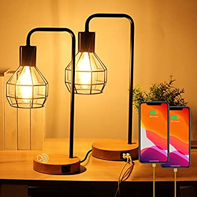 OASO Set of 2 Touch Control Industrial Table Lamp with 2 USB Charging Ports,3-Way Dimmable Bedside Lamp,Vintage Edison Nightstand Lamps for Bedrooms Living Room Side End Table( LED Bulb Included)