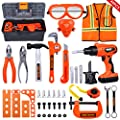 iBaseToy 45 PCS Kids Tool Set - Pretend Play Toddler Tool Toys with Tool Box, Kids Drill Tool Toys - Construction Toy Tool Set Gift for Boys Girls Ages 3 , 4, 5, 6, 7 Years Old by iBaseToy