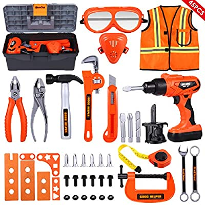 iBaseToy 45 PCS Kids Tool Set - Pretend Play Toddler Tool Toys with Tool Box, Kids Drill Tool Toys and Working Overalls, Construction Toy Accessories Gift
