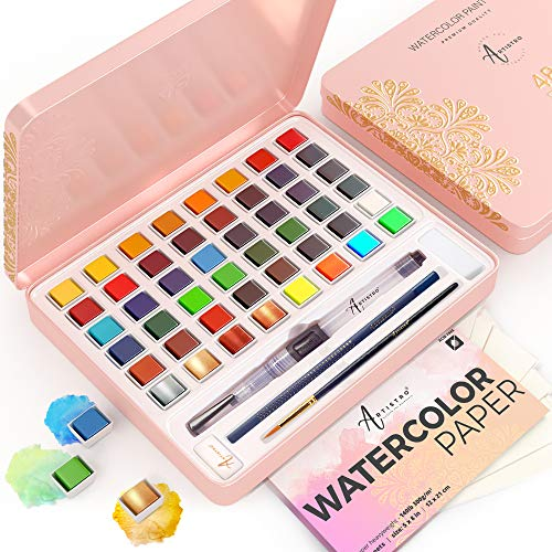 Artistro Watercolor Paint Set, 48 Vivid Colors in Tin Box, Including Metallic and Fluorescent Colors. Watercolor Paints Perfect for Adults and Kids, Art Supplies for Beginners and Professional Artist