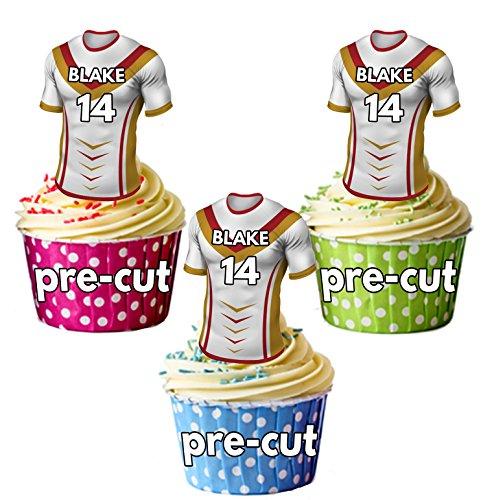 AK Giftshop PRECUT gepersonaliseerde Rugby shirts met uw gekozen naam & NUMBER - eetbare cupcake toppers/taart decoraties Catalaanse draken kleuren (Pack van 12)