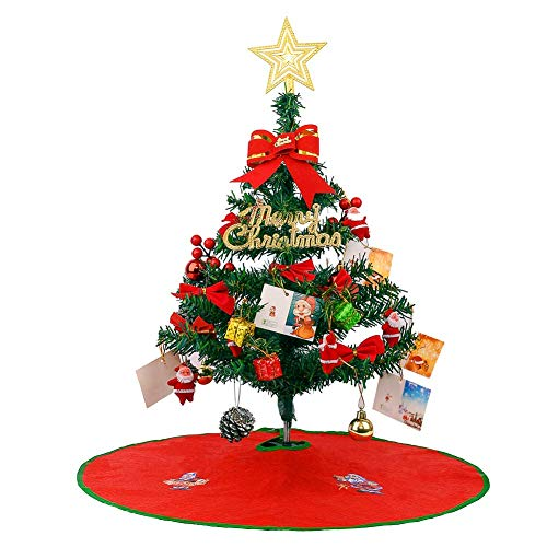 DLY 21.6'/55cm Tabletop Xmas Tree, Artificial Mini Christmas Pine Tree with LED String Lights & Ornaments