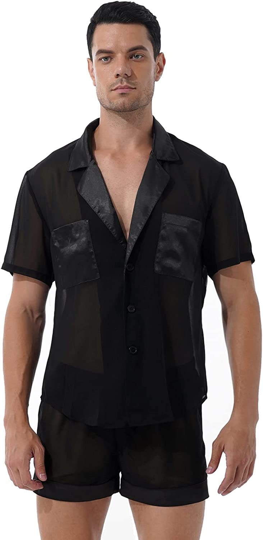 zdhoor Classic Mens Pajamas Set See Through Lounge Pjs Satin Patchwork Sleep Shirts with Shorts