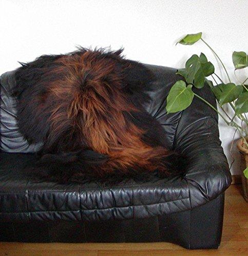 HEITMANN langhaariges Nordlandschnuckenfell schwarz Natur, geflammte Spitzen, seidiges Wollvlies, ca. 115x75 cm, Haarlänge ca. 15 cm