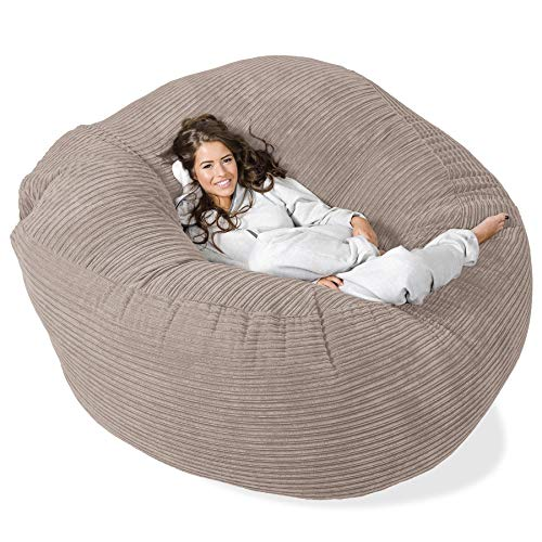 Lounge Pug®, \'Mega-Mammoth\' Sofa Sitzsack XXL, Schlafsofa, Cord Nerzfarben