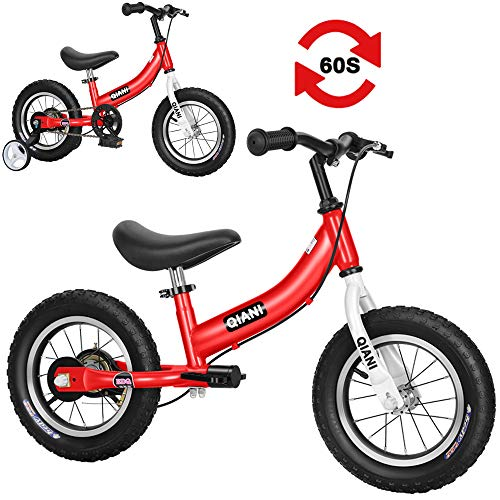 Qiani Balance Bike 2 in 1 for Toddlers,Kids 2 3 4 5 6 7 Years Old,Balance to Pedals Bike,12 14 16 inch Kids Bike,with Pedal kit,Training Wheels,Brakes(red,16inch)