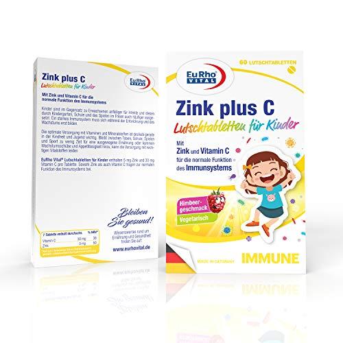 EuRho® Vital Zink plus C Lutschtabletten für Kinder | Vegetarisches Nahrungsergänzungsmittel zur Unterstützung des Immunsystems | Optimal für Kinder ab 4 Jahren | Made in Germany | 60 Tabletten