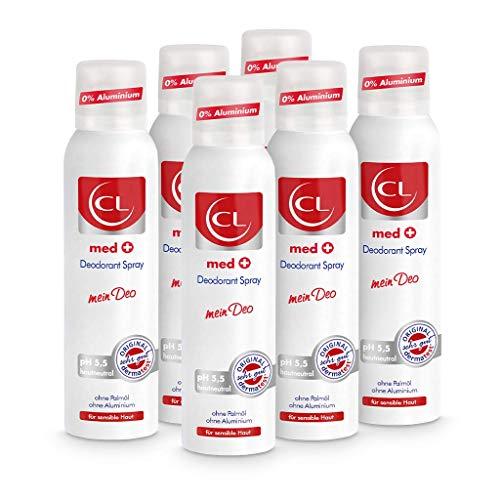 CL med + Deodorant Spray für sensible Haut - 6er Pack 150 ml Deo Spray ph hautneutral ohne Aluminium & Zink bietet aktiven Schutz & sanfte Pflege - Deo Herren & Damen - Deodorant Männer & Frauen