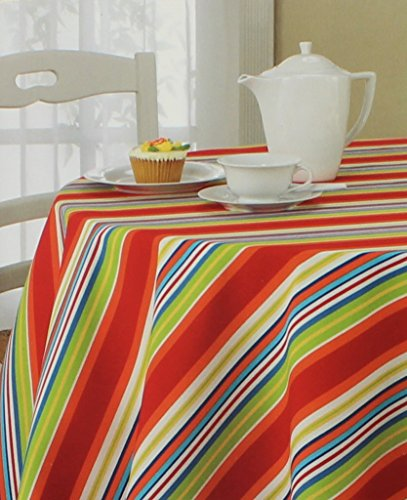 Bardwil Linens Indoor Outdoor Tablecloth 70 Inches Round Mystic Stripe Pattern 1973Z Seats 4 to 6 People