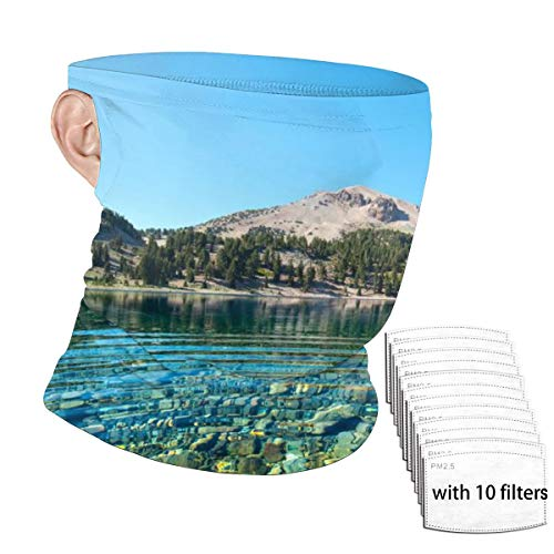 Boys Girls Hanging Ear Balaclava with 6 Filter, Cold Protection Windproof Nature Rainforest Forest Lake Landscape Bandana, Colorful Headwarp for Cycling Leisure Mountain Climbing
