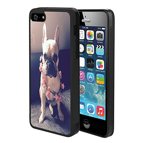 Pingge iPhone 5 iPhone 5S iPhone SE Case French Bulldog with Pink Flowers Slim Rectangle Full Body Shockproof Protective Cellphone Case Black Frame Case for iPhone 5 5S SE